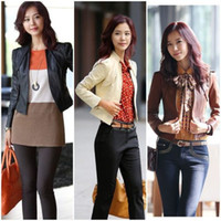 Wholesale Lady OL Long Sleeve Stand Collar Slim Fit Leather Clothing Short Jacket Wm