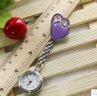Wholesale Chest Pocket Watch Nurse Table Cute Sweet Heart Quartz with Clip DHL ship