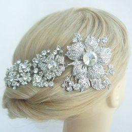 Wholesale Hair accessories Bridal Flower Orchid Hair Comb w Rhinestone Crystal FSE04704C1