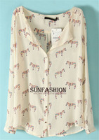 V-Neck Regular Polyester 2014 New Arrival Summer Flowers European Style Long Sleeve Shirt Women Feminina Apricot Long Sleeve Zebra Print Blouse dudalina+ 2014