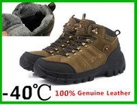 Wholesale men brand high top genuine leather outdoor walking shoes mountain sneakers cotton waterproof non slip winter snow boots