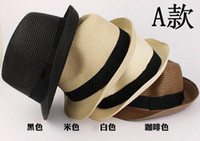 Stingy Brim Hat note the color Top Hats Hot Sale Fashion Summer Women Men Jazz Beach Hat Straw Hat Straw Knitted Hat Caps Accessories Black Beige Black Coffee