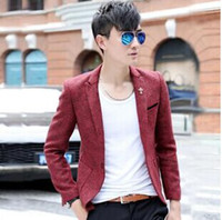 Men Blazer Lapel Neck Winter new mens suits Korean cultivating Metrosexual suit high-end wool small mens suits with one botton mens clothing 4sizes