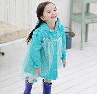 Wholesale Frozen Fashion Baby Girls Clothes Snow Queen Elsa Blue Gauze Coat Princess Raincoat Jacket