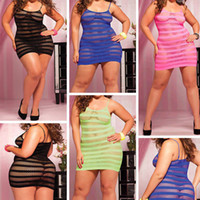 Wholesale New Womens Sexy Lingerie suit Strappy Fishnet Plus size Babydoll nightwear dress