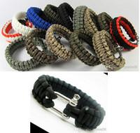 paracord bracelets - Survival Bracelets Paracord Parachute Camping Bracelet Stainless Steel U Clasp Unisex Escape Bracelet Handmade wristband Outdoor Gear hot