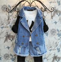Wholesale Hot Sale Fashion Autumn children suit waistcoat shorts girls denim sets kids outfits
