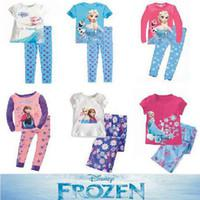 Girl Spring/Autumn 2T 2014 Baby Girls Frozen Pajamas Kids Anna Elsa Olaf Princess Pajamas Children Summer And Autumn Clothes New Cotton 2pcs =1 set 24pcs 12sets l