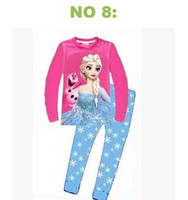 Girl Spring/Autumn 2T 2014 Baby Girls Frozen Pajamas Kids Anna Elsa Olaf Princess Pajamas Children Summer And Autumn Clothes New Cotton 2pcs =1 set 48pcs 24sets l