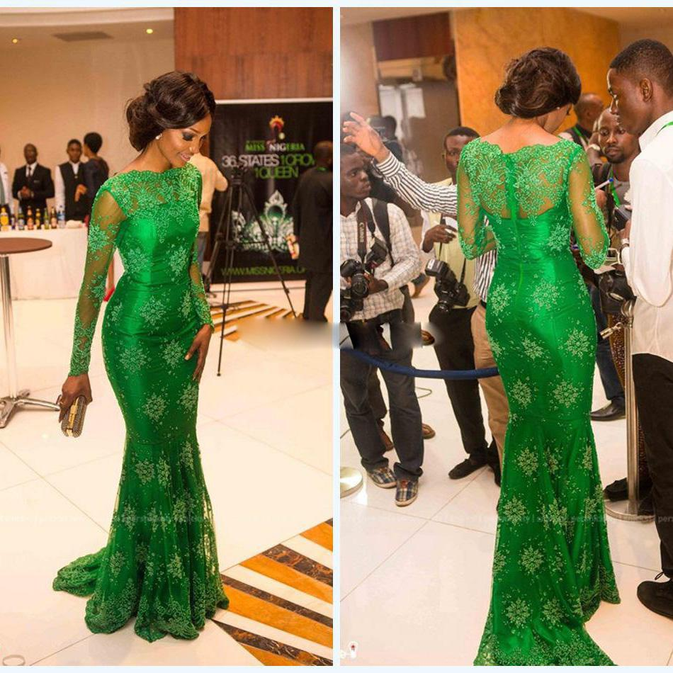 Sheer Lace Long Sleeves Evening Dress With Bateau Emerald