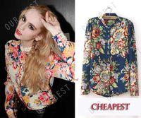 V-Neck Puff Sleeve Long Sleeve Hot Sale New 2014 Blusas Femininas Flower Full Print Chiffon Tops Shirt Women Blouses Fashion Vintage Long Sleeve Blouse