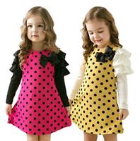Wholesale 2014 new autumn spring children clothing girls polka dot dress long sleeve baby kids clothes girls princess dress