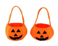 Wholesale 100pcs Halloween Pumpkin Bag Halloween Props Hand Bucket Nonwoven Pumpkins