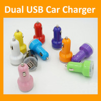 Car Chargers   Dual Port USB Car Charger USB Adapter 2100mah 2.1A Colorful Car Charger for ipad iPhone 6 6G 5 5C 5S 4S Samsung