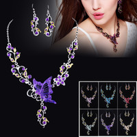Wholesale 2014 New White Gold Plated Wedding Jewelry Sets Butterfly Bridesmaid necklace Earrings For Women party Engagement Colors Drop Shipping W002