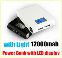 For LG apple external display - 12000mAh External Battery Bank portable power Charger Dual USB Mobile Pack with Light LED Display For Samsung Galaxy iphone HTC