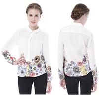 Regular Polyester Floral New 2014 V-neck Chiffon Blouse Women's Long Sleeve Flower Jewelry Printed Shirt Clothing Blusas Femininas Dudalina Spring #2053
