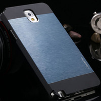 For Samsung Metal Yes Deluxe! Ultrathin Metal Brush Case For Samsung Galaxy Note 3 III N9000 N7200 Aluminum+PC Hybrid Frosted Motomo Cover RCD03980
