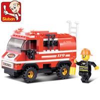 Building Plastic Blocks Sluban Blocks Fire Series Light Fire Truck 133pcs set M38-B0276 Children's Enlightenment Educational Building blocks Toys