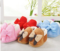 Wholesale With thick warm baby shoes soft soled baby shoes Baby toddler shoes baby shoes with bowknot A004