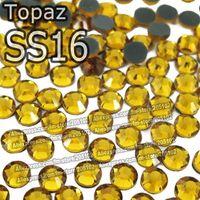 Wholesale SS16 mm Bag Topaz DMC HotFix FlatBack loose Rhinestones DIY Hot Fix iron on garment yellow crystal gem stone