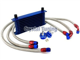 Wholesale 10 Rows Oil Cooler Kit AN10 Rows Body Dual Adapter Oil Pipes Universal Racing Car Auto Oil Cooler Kit AN