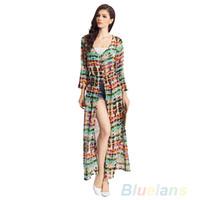 Cheap Womens Vintage Chiffon Long Sleeve Boho Gypsy Hippie Maxi Cardigan Shirt Dress 03NW