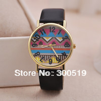 Women's Water Resistant Round JW421 Fashion Unique Design Women's Watch Colorful Wave Pattern Arabic Numbers Watch Face Dress Watches PU Leather Strap Clock