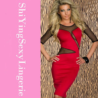 Casual Dresses Above Knee/ Mini Polyester Decolletage Dress with Mesh Red Blue LC2755 New Women Clothing Sexy summer spring vestidos free shipping