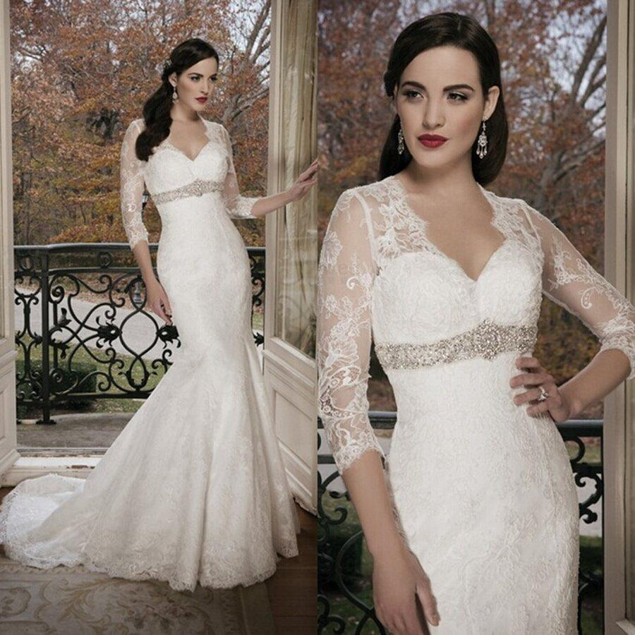 Buy 2014 Wedding Dresses V Neck 3/4 Long Sleeves Sheer Lace Tulle Crystals Beaded Sash Court Train Mermaid Bridal Gowns JA8684