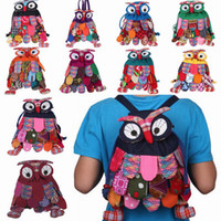 Unisex features - Lovely Child Cotton Owl Backpack Kids School Bag Outdoor Picnic Backpack With National Feature Colors Choose GNN