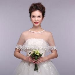 Wholesale Hot Sale Tulle Bridal Wraps See Through Scoop Neckline Applique Lace Edge Bolero Wedding Jacket Shawl Bridal Accessories