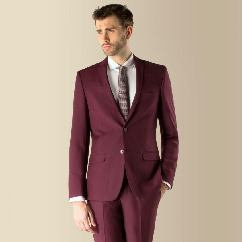 Custom Made Slim Fit 2015 Groom Tuxedos Burgundy Two Buttons Best Man Business Suit Wedding