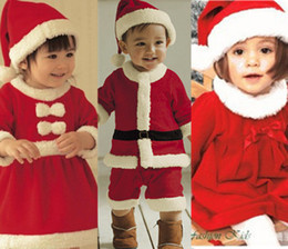 Wholesale Christmas Children Suit Baby Boys Girls Christmas Jumpsuit girls Bow dress Hat Set Child Clothings pieces Kids wear