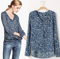 Regular Acetate Button Hot Sale 2014 Europe Spring Summer Print Chiffon Shirt Long Sleeve Women Shirt camisas femininas dudalina C097+ 2014