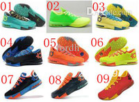 Basketball Men Genuine Leather Hot sale cheap Durant KD VI Low Bamboo orange mens basketball shoes, wholesale discount KD 6 sports sneakers for men