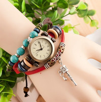 Wholesale vine Tibet turquoise Retro charm Prayer beads bracelet watch Rome women Genuine cow leather quartz wristwatches color