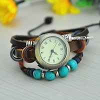 Wholesale vintage Tibet turquoise Retro charm Prayer beads bracelet watch Rome women Genuine cow leather quartz wristwatches color