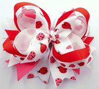 Chemical Fiber baby girl ladybug - 12pcs quot ladybug printing Hair Bow spike Girls Baby Hairbow clip