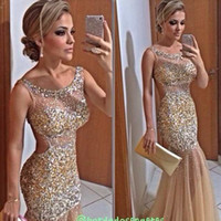 Wholesale 2015 Bling Evening Dress With Scoop Sheer Straps Sequins Beaded Tulle Champagne Nude See Through Backless Prom Dress Plus Size Pageant Gown