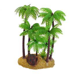Wholesale Green Brown underwater aquarium fish tank ornament quot plastic palm tree plant Artificial Plants