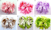 Chemical Fiber bee hair bow - 12pcs quot Bee printing Hair Bow spike Girls Baby Hairbows Grosgrain Ribbon Mixed Colors Hair Accessories