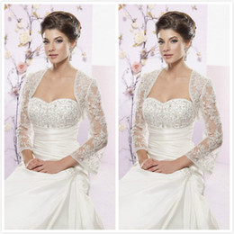 Wholesale Custom Made New Vintage Sheer Long Sleeves White Ivory Lace Bolero Wedding Jackets Bridal Wraps