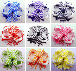 Wholesale 20pcs quot Chevron Hair Bow clip spike Girls Baby Hairbows Headwear Headdress Grosgrain Ribbon Mixed Colors Hair Accessories