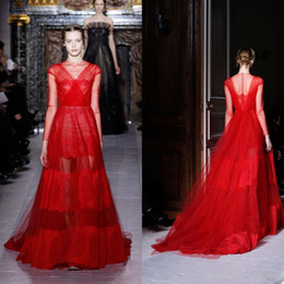 Wholesale Top Valentino Runway Scoop Neck Floor Length Bright Red Sheer Long Sleeves Tulle See Through Lace Prom Gown Sexy Evening Dress
