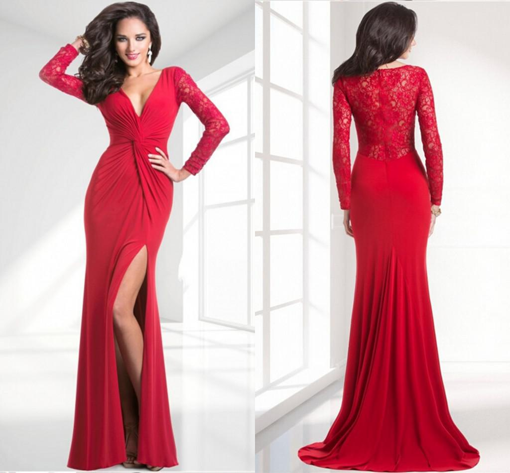 Red Long Sleeve Spandex Prom Dresses Beautiful Sexy Side Slit V ...