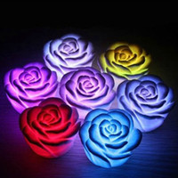 Wholesale Chirstmas Gift Romantic living color changing LED lamp LED Rose Flower Candle lights room decoration night light