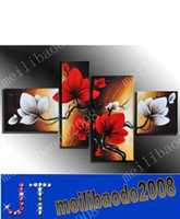 Oil Painting white flower oil - hand painted wall art White flowers red the wind landscape oil paintings on canvas set Framed MYY2494A