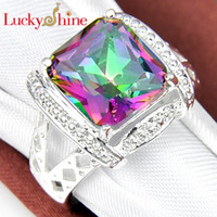 Solitaire Ring mystic topaz - Luckyshine new Christmas Day Two pieces silver plated small and exquisite Square Mystic topaz crystal Ring for lady R667
