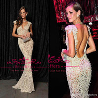 Reference Images V-Neck Lace Evening Dresses with V Neck Cap Sleeves Sheer lace Full Length Slim Mermaid women Gowns Fashion Backless Celebrity Party Prom Gowns